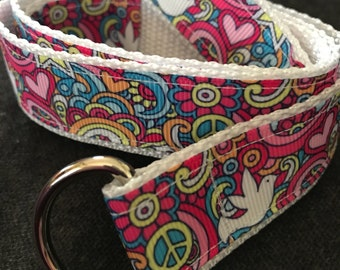 Child's Self-closing Belt: Peace & Love, size 5/6