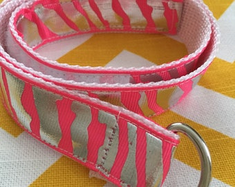 Child's Self-closing D-ring Ribbon Belt: Neon Pink Zebra, size 4T/5T