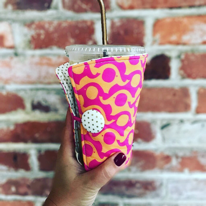 Coffee Cozy-fits all size hot/iced drinks Pattern: Pink image 0