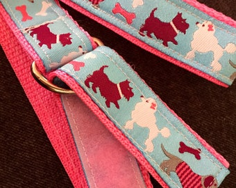 Child's Self-closing D-Ring Ribbon Belt: Preppy Pups, size 4T/5T