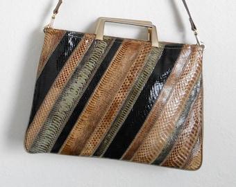 70s vintage bag - brown snakeskin black green leather case bag - 70s Journey bag