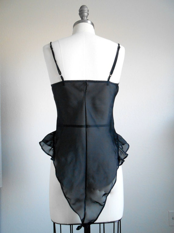 Vintage 80/'s California Dynasty Black Sheer Sleeveless Teddy Size Large