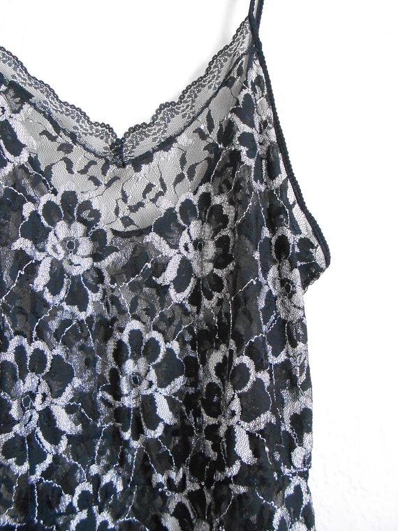 80s vintage teddy lingerie - black lace teddy XXS