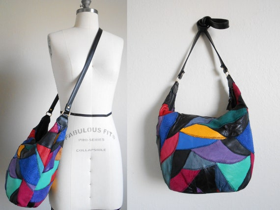 80s, 90s vintage bag - black leather patchwork bag