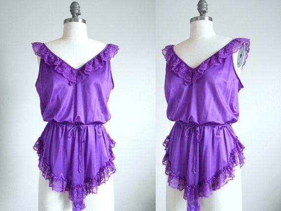 70s, 80s vintage teddy lingerie - purple lingerie