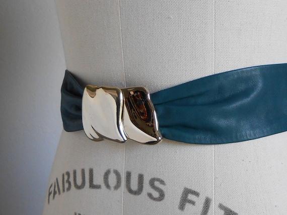 80s vintage leather belt - green leather gold M b… - image 5