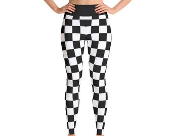 648389ab63a33 Checkered Flag All Over Print Yoga Pants / Leggings