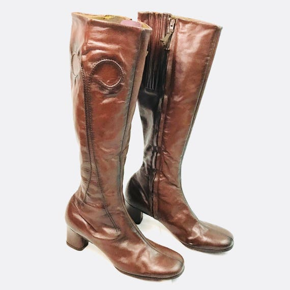 25a09faaa4679 Selby 5th Avenue Leather Go Go knee high Leather Boots Vintage 8.5M