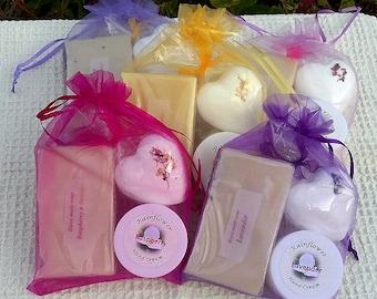 Bath & Hand Care gift in Organza bag. Handmade Soap, Hand Cream, Bath Bomb. Choice of Fragrance. Mothers. New Mom. Bath Gift Set. UK Seller