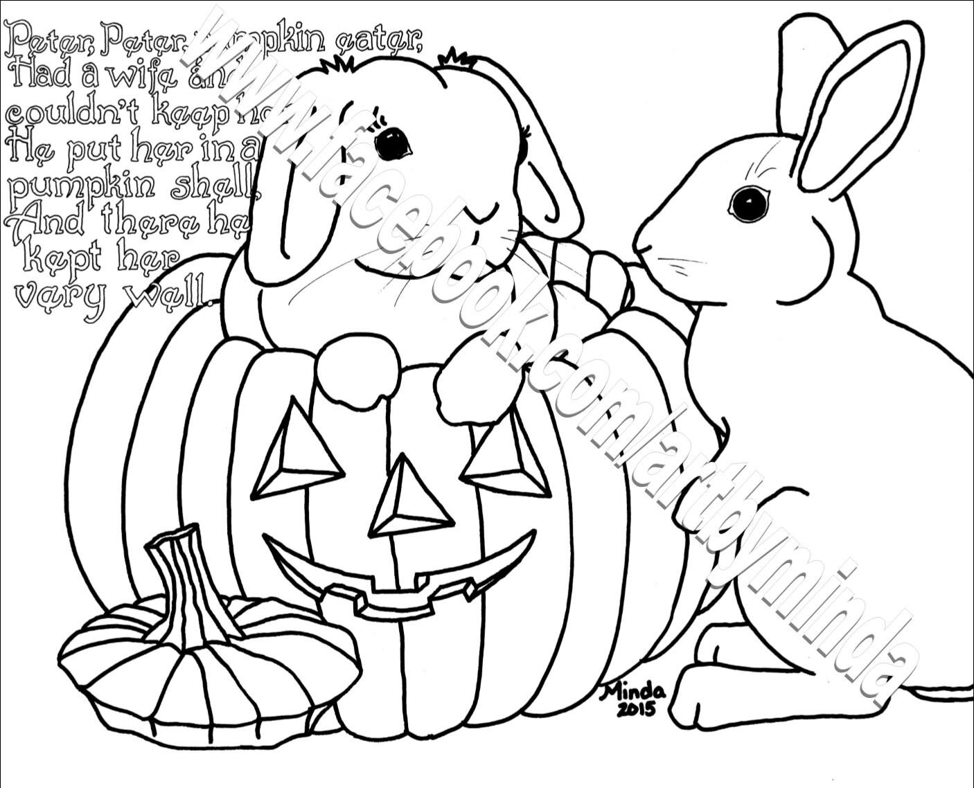 Bunny Nursery Rhyme Coloring Series Peter Peter Pumpkin | Etsy