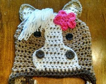 Tan brown white Horse Crochet Hat made in NB d86b6990f3da
