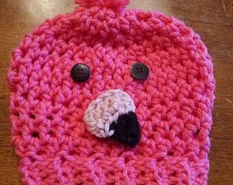 0dad09bc6fb Crochet flamingo baby hat. Newborn flamingo hat. Coral pink flamingo hat.  Baby shower gift. Newborn gift. Cute flamingo hat.