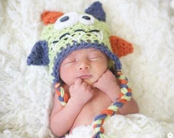 16a17b24d6b Baby Newborn Infant Toddler Colorful Monster Crochet Hat. Photo Prop. Green  monster hat. Boy winter fall hat.
