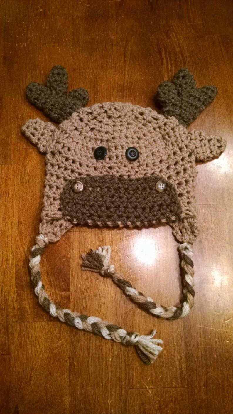 e11f69be990 Adorable kids toddler crochet moose hat. Kids moose hat.