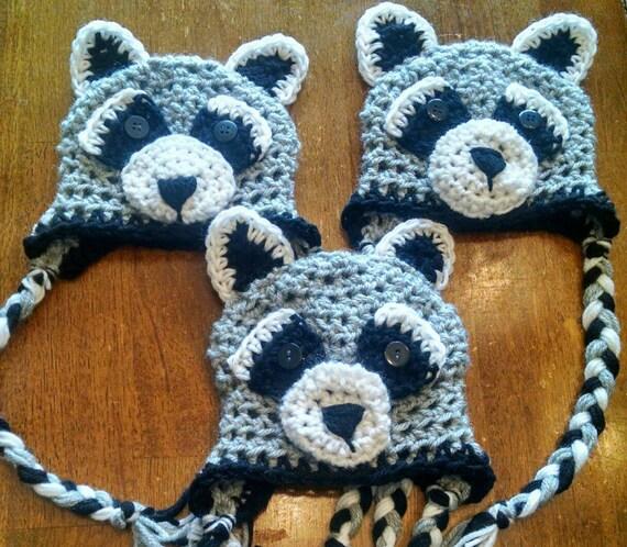 Newborn raccoon hat baby raccoon hat infant crochet raccoon  d92b0d63dae