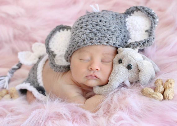 d1c2b5c6aac White and gray crochet elephant hat and diaper cover. Fits