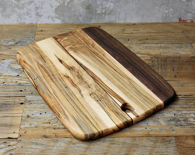 SALE, Price Reduced!  Wood Cutting Board, Mixed Woods, Walnut and Ambrosia Maple Wood