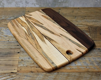 Wood Cutting Board, Mixed Woods, Walnut and Ambrosia Maple Wood