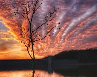 Photography, Landscape, Nature Print, Title:  Sun Setting On Green River Lake, 10x15 Inch Photographic Print