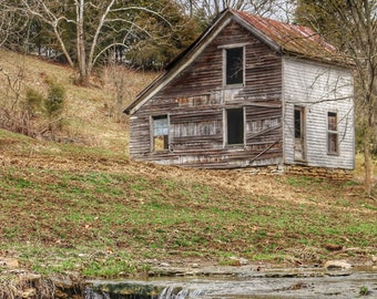 Photography, Landscape, The Old House By The Creek, Country Scene, 11 x 14 Inch Photographic Print
