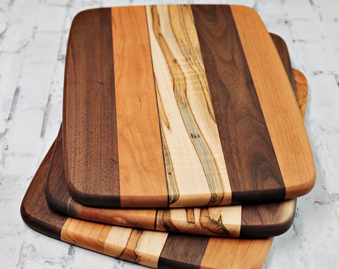 Large Wood Cutting Board, Mixed Woods, Walnut, Cherry & Ambrosia Maple Wood, With or Without Handling Hole