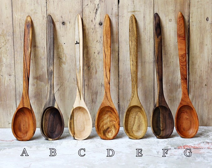 Wooden Spoon, Premium Collection Spoons #2, Cherry, Walnut, Chestnut or Ambrosia Maple
