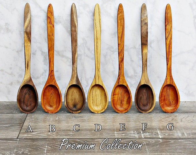 Wooden Spoon, Premium Collection Spoons, Two Toned Walnut, Chestnut, or Figured Cherry Wood