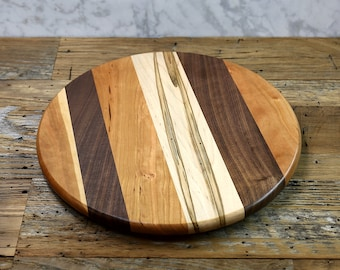 Lazy Susan, 14 Inches Round, Hand Rubbed Finish, Low Profile, Walnut, Ambrosia Maple,  and Cherry Wood, Random Layout