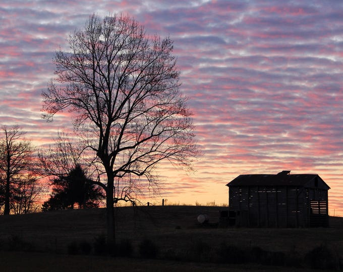 Photography, Landscape Print, Title: Colorful Sunset Over The Farm, 11 x 14 Photographic Print