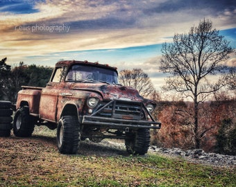 Photography, Old Chevy Truck, Title:  Sun Setting On An Old Chevy Truck, 11 x 14 Inch Photographic Print