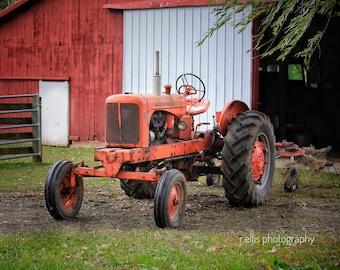 Photography, Primitive, Antique Tractor Print, 11 x 14 Inch Photographic Print, Allis~Chalmers