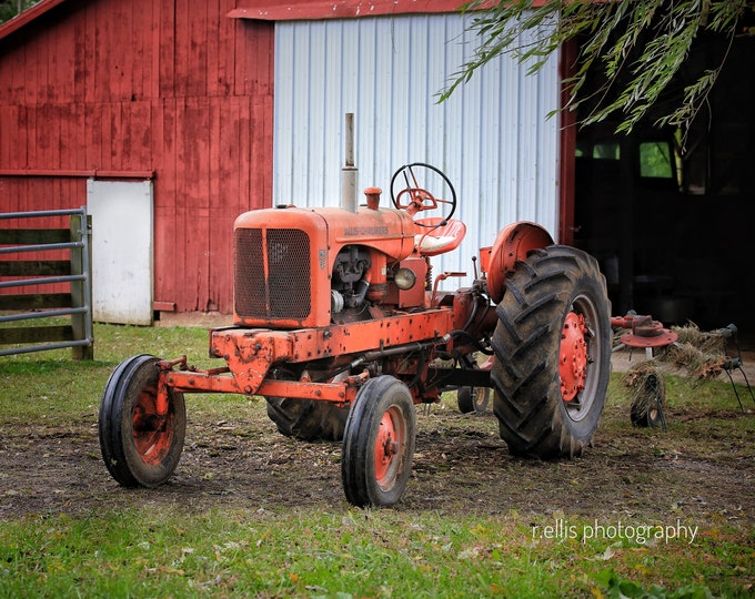 Photography, Primitive, Antique Tractor Print, 11 x 14 Inch Photographic Print, Allis~Chalmers