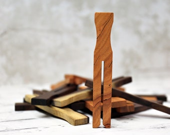3 Chip Clips For 9.95, Your Choice of Cherry or Walnut Wood, Potato Chip Bag Clips