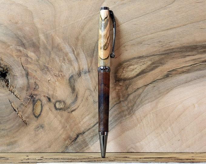Wood Pen, Figured Walnut and Ambrosia Maple Wood, Black Titanium Nitride  Plated Metal