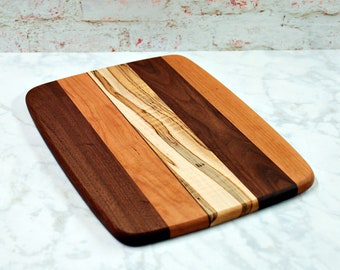 Large Wood Cutting Board, Mixed Woods, Walnut, Cherry, and Ambrosia Maple Wood
