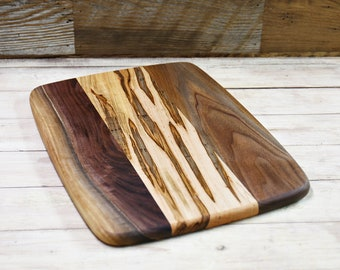 Large Wood Cutting Board, Mixed Woods, Walnut & Ambrosia Maple Wood