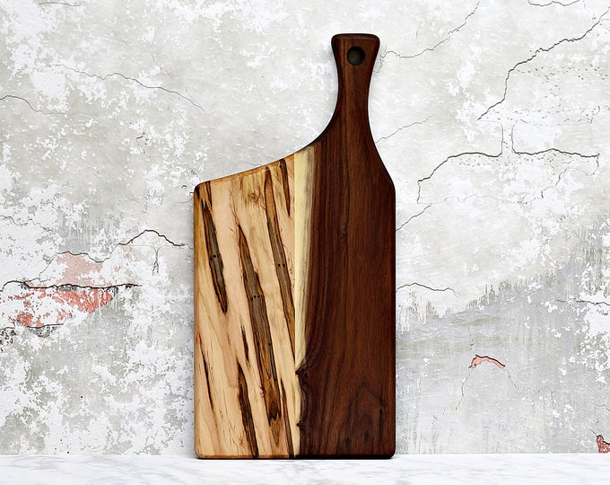 Wooden Cutting Board, Walnut, Ambrosia Maple, Offset Handle