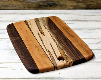 Wood Cutting Board, Mixed Woods, Walnut, Cherry, and Ambrosia Maple Wood