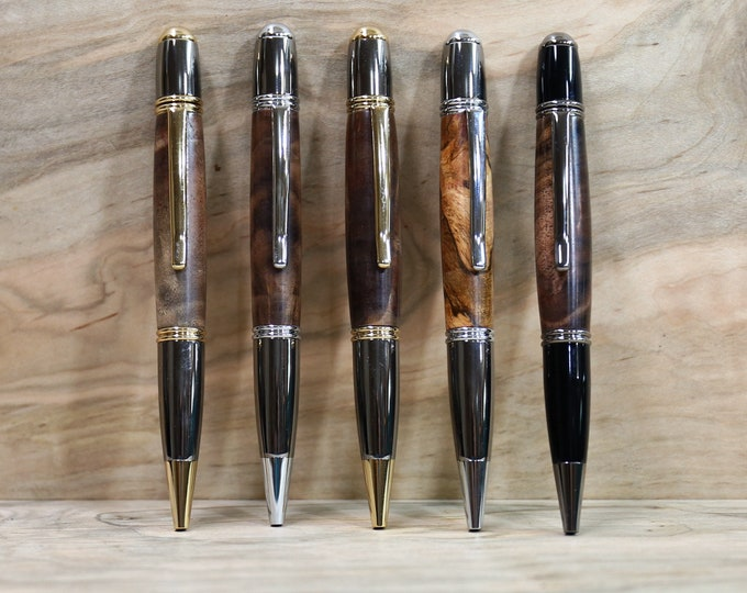 Wood Pen, Gatsby Twist Pen, Figured Walnut or Spalted Maple