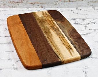 Large Wood Cutting Board, Mixed Woods, Walnut, Cherry & Ambrosia Maple Wood