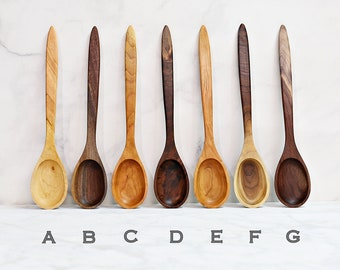 Wooden Spoons, Premium Collection, Two Toned Walnut, Figured Walnut, Figured Cherry or Two Toned Cherry Wood