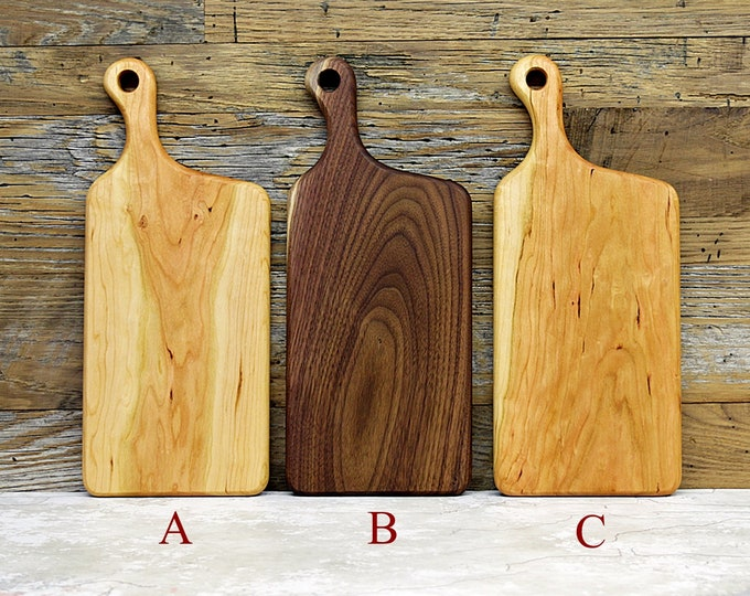 Cutting Board, Wood Cutting Board, Wooden Cutting Boards, Walnut or Cherry Wood, Offset Handle
