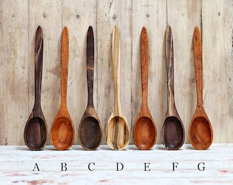 Wooden Spoon, Premium Collection Spoons, Cherry, Walnut, or Ambrosia Maple Wood