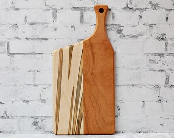 Wooden Cutting Board, Cherry, Ambrosia Maple, Offset Handle