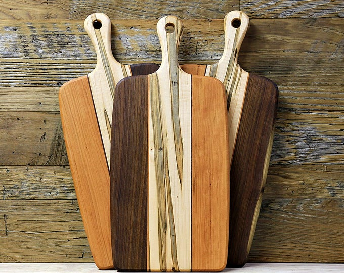 Large Wood Cutting Board, Ambrosia Maple, Cherry and Walnut Wood