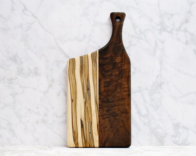 Premium Collection, Wooden Cutting Board, Walnut, Ambrosia Maple, Offset Handle