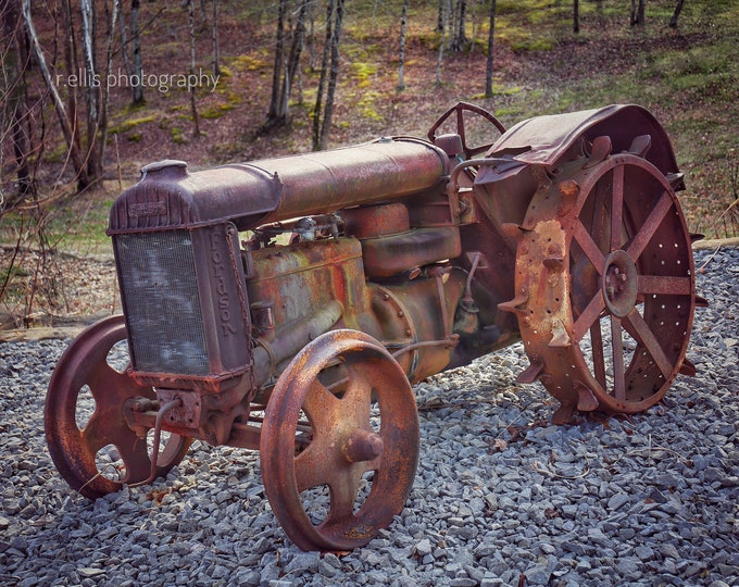 Photography, Primitive, Antique Tractor Print, 11 x 14 Inch Photographic Print