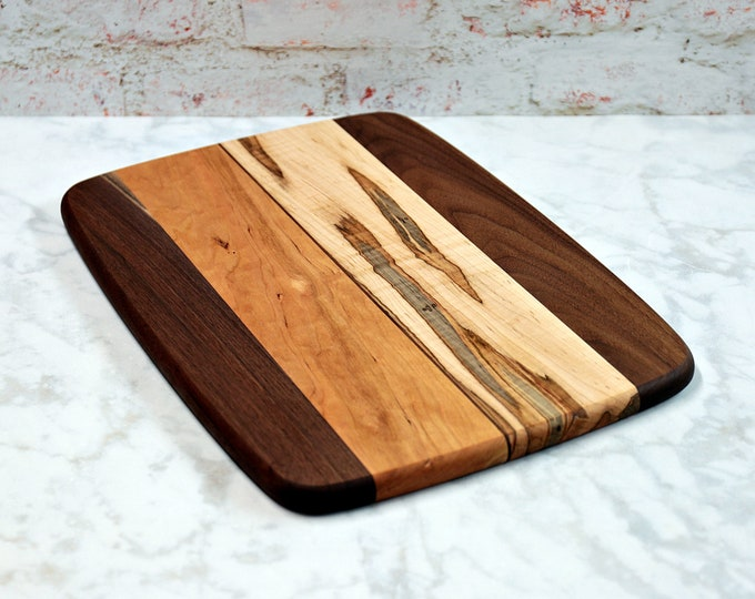 Large Wood Cutting Board, Mixed Woods, Walnut, Cherry, and Ambrosia Maple Wood