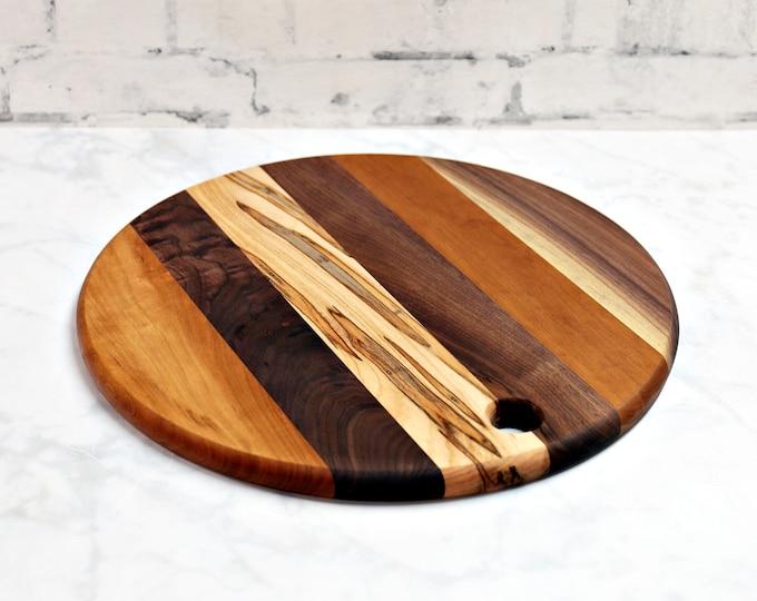Round Cutting Board, Walnut, Cherry, and Ambrosia Maple