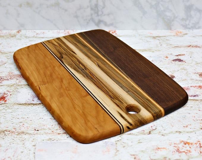 Wood Cutting Board, Mixed Woods, Walnut, Cherry, and Ambrosia Maple Wood